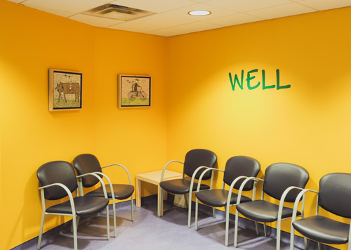 Waiting area for well care visitors